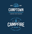 set of camp logo with campfire and family trailer vector image