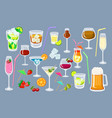 set of coctails classic alcoholic drinks isolated vector image vector image