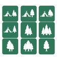 Set of tourism tent and forest icons vector image vector image