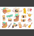 set stylized rock themed stickers vector image