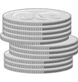 silver coins stacks vector image vector image