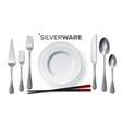 silverware set silver metal knife spoon vector image vector image