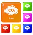 smog icons set color vector image vector image