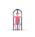 sporty man working out on lat pull down machine vector image vector image
