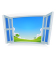 spring or summer landscape by the window vector image vector image