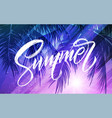 summer lettering palm leaf and sea background vector image vector image