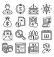 tax icons set on white background vector image vector image