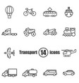 transport set of 14 icons in a flat style vector image vector image