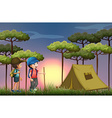 two boys hiking and camping in forest vector image vector image
