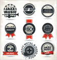 Vintage music labels vector image