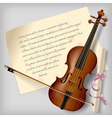 Violin with a paper sheet vector image vector image