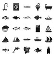 water world icons set simple style vector image vector image