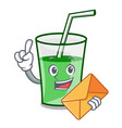 with envelope green smoothie character cartoon vector image vector image
