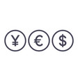 word yes currency icons yen euro dollar symbols vector image vector image