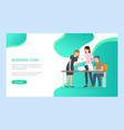 workers discussing with papers in office vector image vector image