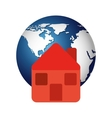 world planet with house icon vector image