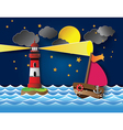 yacht on sea night full moon and lighthouse vector image vector image