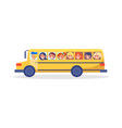 yellow trip bus with kids going on excursion vector image vector image