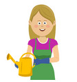 young gardening woman stands with watering can vector image