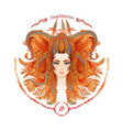 zodiac sign portrait of a woman sagittarius vector image vector image