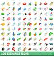 100 exchange icons set isometric 3d style vector image