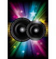 Disco club flyer with black speaker vector image