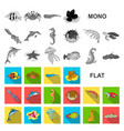 a variety of marine animals flat icons in set vector image vector image