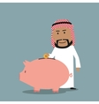 Arab businessman puts a coin into piggy bank vector image vector image
