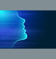 artificial intelligence human face outline vector image vector image
