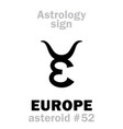 astrology asteroid europe vector image