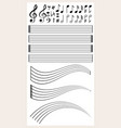 blank music paper with different notes vector image vector image