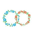 Blue and red vintage Flower interlinked rings vector image