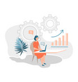 business woman working on computer in the vector image