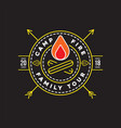 camp logo with campfire camping scout symbol vector image