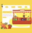 cartoon local farmer market concept vector image vector image