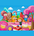 children in raincoats playing in candyland vector image vector image