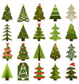 christmas trees in natural condition and decorated vector image vector image