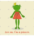Cute cartoon frog princess in red dress For vector image