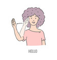 deaf mute sign language character gesture vector image vector image