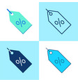 discount percent tag icon set in flat and line vector image