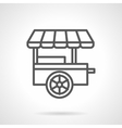 Fast food trailer black line icon vector image vector image