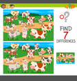find differences game with cows animal characters vector image vector image