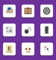 Flat icon games set of mahjong arrow chequer and
