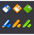 Floppy disk with flash memory icons vector image