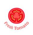fresh tomato slice flat icon vector image vector image