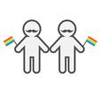 Gay marriage Pride symbol Two contour man vector image vector image