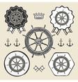 Helm vintage sea naval symbol emblem label vector image