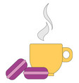 image biscuit and cup hot drink or color vector image vector image