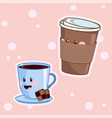 kawaii coffee cute cafe drinks coffee vector image