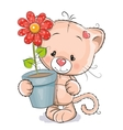 Kitten with flower vector image vector image